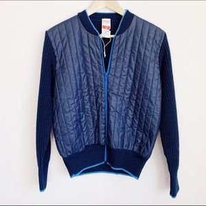 brand new navy blue 70s quilted knit zip up